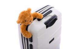 Isolerat vitt bagage Royaltyfri Bild