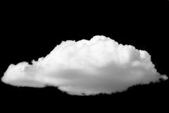 Isolerat vitt moln på svart bakgrund royaltyfri foto