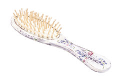 isolerat vitt trä för bakgrund hårborste Royaltyfri Fotografi