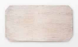 Isolerat vitt träbräde, bästa sikt royaltyfri bild