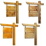isolerat vitt trä för set signboards Royaltyfria Foton