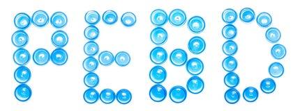 Isoleren de blauwe plastic kruiken van de tekenbenoeming op een witte achtergrond het woord PEBD, Lage dichtheidspolyethyleen, re royalty-vrije stock fotografie