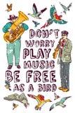 Isoleren de gelukkige mensen van de vrijheidsmuziek en op wit Stock Foto