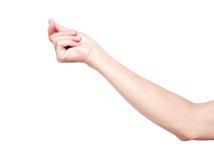 Isoleren de hand brekende vingers op witte achtergrond met het knippen royalty-vrije stock fotografie