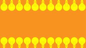 Isolete del icono de muchos bulbos de la luz ámbar en la plantilla anaranjada en blanco de la web del fondo del papel pintado, es imagen de archivo libre de regalías