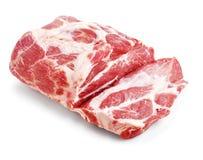 Isoleted na biel wieprzowiny surowy mięso Fotografia Royalty Free
