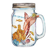 Isoleted Tumbler with Marine Life Landscape - the ocean and the underwater world with different inhabitants. Aquarium stock illustration