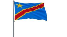 Isolez le drapeau de la République démocratique du Congo sur un mât de drapeau flottant dans le vent sur un fond blanc, le rendu  Image libre de droits