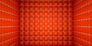 Isolierung und Abtrennung: Rot genähte lederne Matratzen Lizenzfreie Stockfotografie