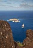 Isolotto di Motu Nui vicino all'isola di pasqua Fotografie Stock Libere da Diritti