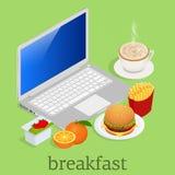 Isométrico comendo o café da manhã na frente do computador no espaço de trabalho Batatas fritas clássicas das batatas do hamburgu ilustração do vetor