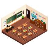 Isométrico de uma sala de aula da escola primária Imagem de Stock Royalty Free