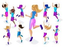 Isométrico de un atleta grande de la muchacha contra un fondo de pequeño, la aptitud que salta, el funcionamiento alrededor, el f libre illustration