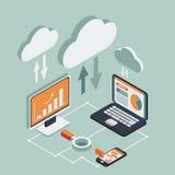 Isométrico simples das tecnologias da nuvem ilustração stock