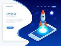 Isométrique commencez le concept Revenu et succès Vol de Rocket hors d'écran d'ordinateur portable sur le fond bleu projet Photographie stock libre de droits