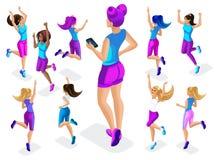 Isométrique d'une grande athlète de fille sur un fond de petit, de la forme physique sautant, fonctionnement autour, avant et arr illustration libre de droits