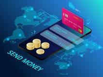 Isométrique envoyez l'argent Concept en ligne d'interface de transfert d'argent Technologie moderne et transaction en ligne Photographie stock