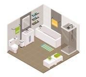 Isométrique intérieur de salle de bains illustration de vecteur