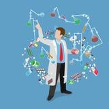 Isom för lägenhet för kemikalie för forskning för experiment för vetenskapslabb vektor illustrationer