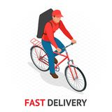 Isomeric fast delivery concept. Delivery man or cyclist in red uniform from delivery company speeding on a bike through. City streets with a hot food delivery Royalty Free Stock Image