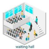Isomeric inre av den väntande korridoren i väntande korridor eller järnvägsstation Royaltyfri Foto