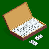Isomeric set of dominoes in bamboo box isolated on green background Stock Photos