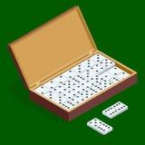 Isomerische die reeks domino's in bamboedoos op groene achtergrond wordt geïsoleerd Stock Foto's