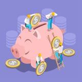 Isomerische het Concept van het besparingsgeld Stock Afbeeldingen