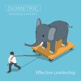 Isometic Businessman Pull Elephant That Standing On Cart Stock Photos