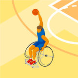 Isometirc 3D physically disabled basketball player at the court Royalty Free Stock Images