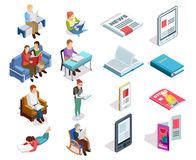 Isometirc Reading Icon Set. Isolated and colored isometirc reading icon set with people who read books magazines tablets in different places vector illustration vector illustration
