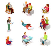Isometirc Reading People Icon Set. Colored and isolated isometirc reading people icon set with different ages and hobbies women and men vector illustration stock illustration