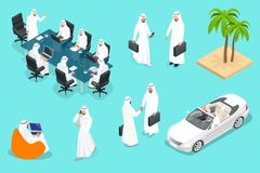 Isometirc Saudi Businessmens. Arab man n character set. Muslim businessman with gadgets isolated vector illustration. Isometirc Saudi Businessmens. Arab man stock illustration
