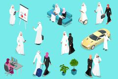 Isometirc Saudi Businessmens. Arab man and woman character set. Muslim businessman with gadgets isolated vector. Illustration stock illustration