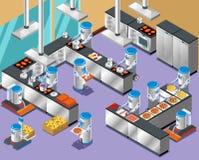 1Isometric机器人餐馆构成 图库摄影