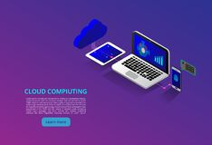 Isometric σύγχρονη έννοια τεχνολογίας και δικτύωσης σύννεφων Επιχείρηση τεχνολογίας σύννεφων Ιστού Υπηρεσίες δεδομένων Διαδικτύου διανυσματική απεικόνιση
