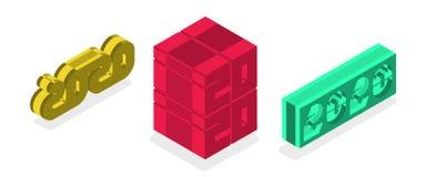 Isometric πλαστικό σύνολο σχεδίου κειμένων του 2020 Συλλογή καλής χρονιάς Εξελικτικό και editable χρώμα διάνυσμα απεικόνιση αποθεμάτων