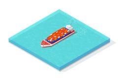 Isometric ładunku statek niesie różnorodny wielo- Zdjęcia Royalty Free