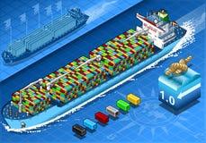 Isometric ładunku statek z zbiornikami w nawigaci w Frontowym widoku ilustracja wektor