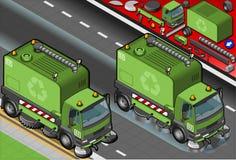 Isometric Śmieciarska Cleaner ciężarówka w Frontowym widoku Fotografia Royalty Free