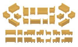 Isometric żółta nowożytna kanapa i karło Obrazy Royalty Free
