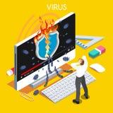 Isometric άνθρωποι ιών υπολογιστών