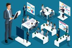Isometric άνθρωποι κινούμενων σχεδίων, τρισδιάστατες διαφορετικές καταστάσεις επιχειρηματιών και επιχειρησιακών κυριών, μεγάλο άτ ελεύθερη απεικόνιση δικαιώματος