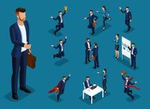 Isometric άνθρωποι κινούμενων σχεδίων, τρισδιάστατο σύνολο επιχειρηματία και επιχειρησιακής κυρίας στις διαφορετικές καταστάσεις, διανυσματική απεικόνιση