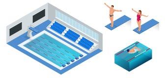 Isometric άνθρωποι που βουτούν στο νερό μέσα στην πισίνα, δύτης Αρσενικός κολυμβητής, ο οποίος πηδώντας και βουτώντας σε εσωτερικ ελεύθερη απεικόνιση δικαιώματος