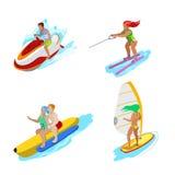 Isometric άνθρωποι στη δραστηριότητα νερού Γυναίκα Surfer, νερό που κάνει σκι, άνδρας Hydrocycle Στοκ εικόνες με δικαίωμα ελεύθερης χρήσης