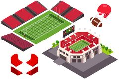 Isometric άποψη της απεικόνισης γηπέδου ποδοσφαίρου Στοκ εικόνες με δικαίωμα ελεύθερης χρήσης