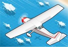 Isometric άσπρο αεροπλάνο κατά την πτήση σε οπισθοσκόπο Στοκ εικόνες με δικαίωμα ελεύθερης χρήσης