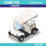 Isometric άσπρο αυτοκίνητο γκολφ Στοκ Φωτογραφίες