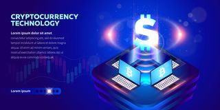 Isometric έμβλημα Cryptocurrency ελεύθερη απεικόνιση δικαιώματος